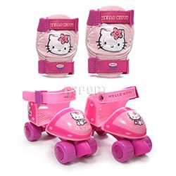 Impregnaty - Wrotki dziecięce, regulowane + ochraniacze na łokcie i kolana Hello Kitty