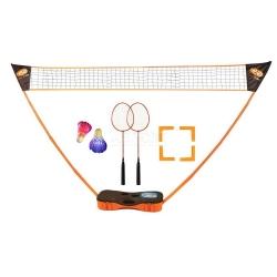 Zestaw do badmintona: 2 rakietki, 2 lotki, siatka, 2 kijki, 4 znaczniki p�l