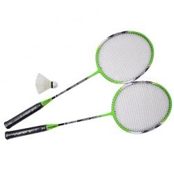 Zestaw do badmintona: 2 rakiety + lotka + pokrowiec A1982 zielony Axer