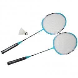 Zestaw do badmintona: 2 rakiety + lotka + pokrowiec A1983 turkusowy Axer