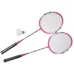 Zestaw do badmintona: 2 rakiety + lotka + pokrowiec A1984 r�owy Axer