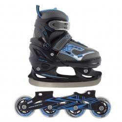Łyżwy hokejowe + rolki regulowane, dziecięce 2w1 NH 702A SET black/blue Nils