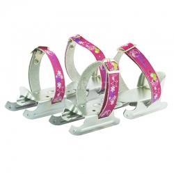 Łyżwy dziecięce, łyżwosanki, podwójna płoza S-202 pink kajtki Nils