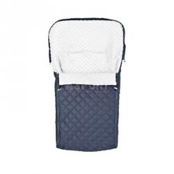 Śpiworek do wózka MINKY granatowo-biały Sensillo