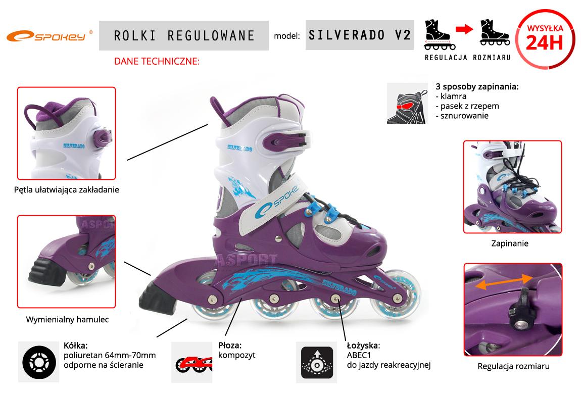Rolki regulowane, dziecięce, jazda rekreacyjna SILVERADO purple V2