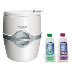 Przenośna toaleta turystyczna PORTA POTTI EXCELLENCE 21L + płyny 2x150 ml