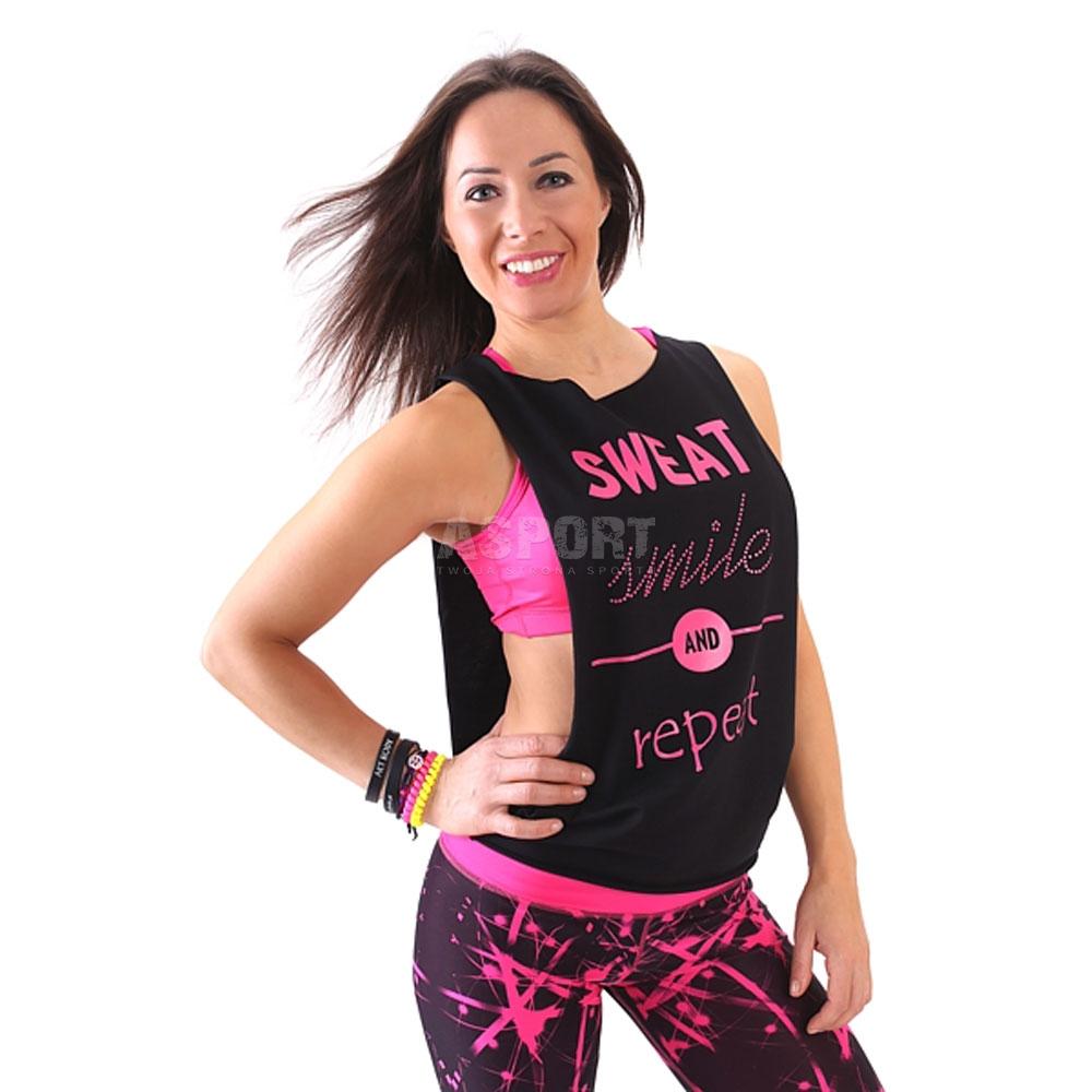 Koszulka damska, top, taniec, fitness REPEAT czarny 2skin