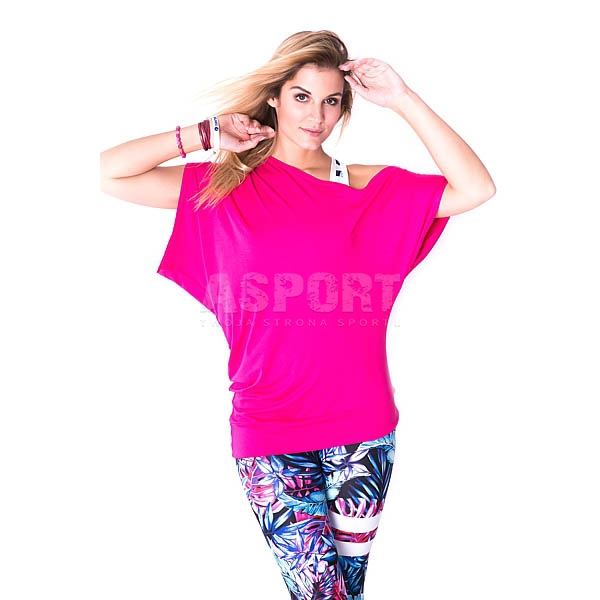 ecb7935beb05ef Koszulka na fitness, zumbę, do tańca, oversize MORGAN różowa 2skin ...