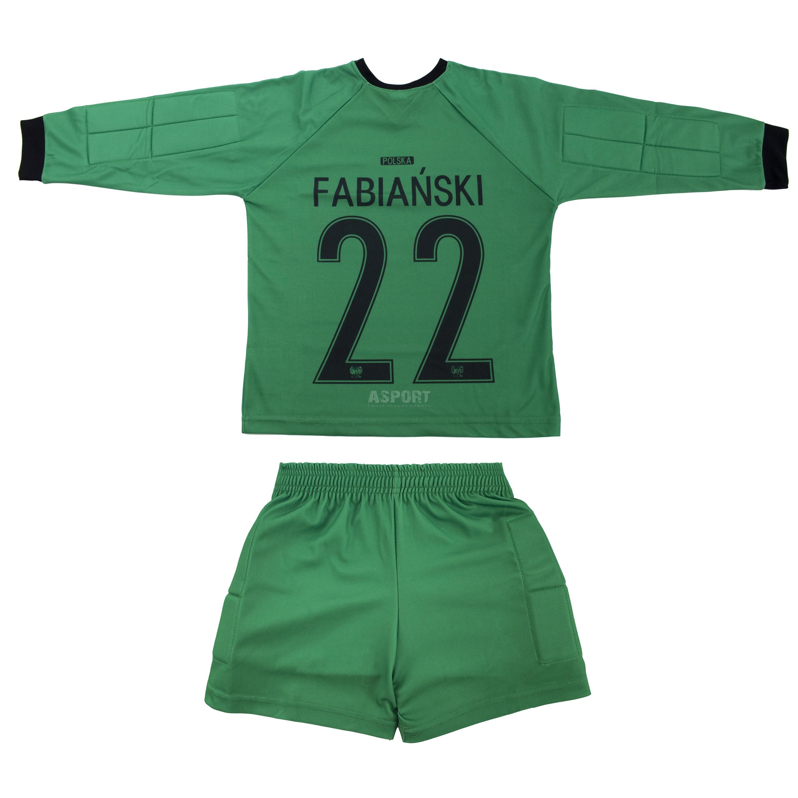 16bf4d8ee26038 Strój piłkarski bramkarski dziecięcy, koszulka + spodenki FABIAŃSKI replika