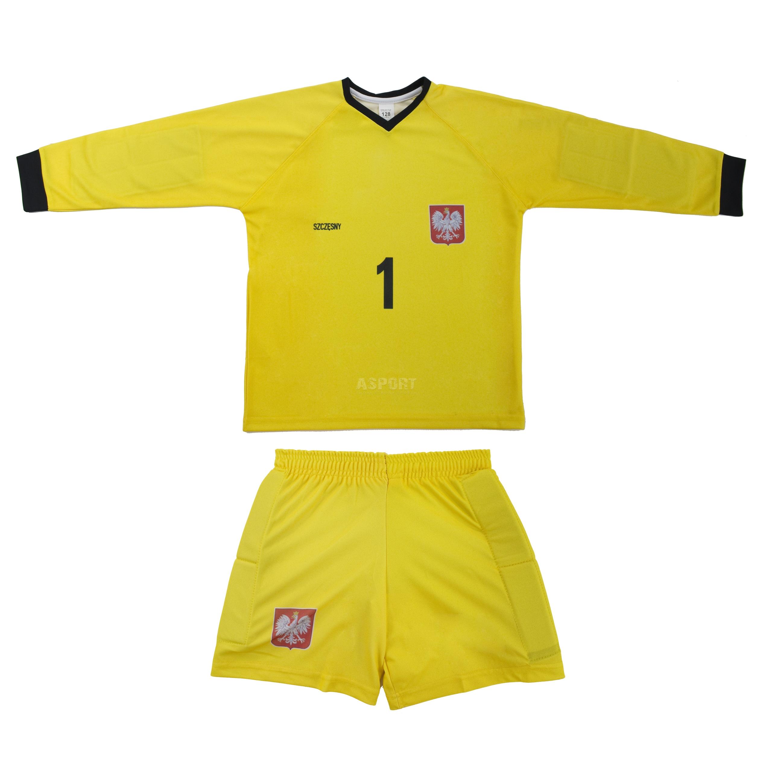 c782d803892e0a Strój piłkarski bramkarski dziecięcy, koszulka + spodenki SZCZĘSNY replika