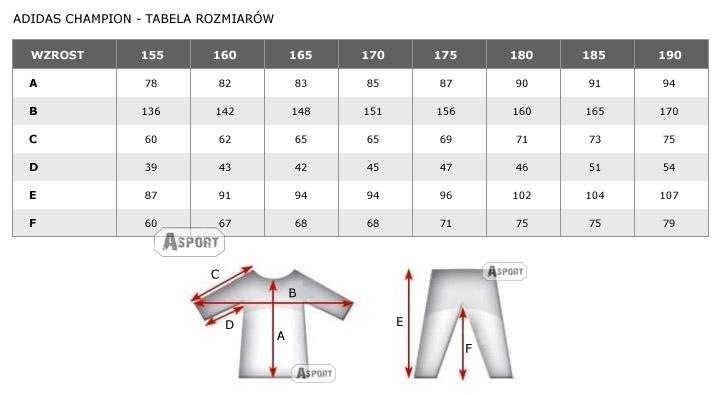 detailed look 980ff 3a545 Tabela rozmiarowa Kimono do judo 150-200 cm NEW IJF CHAMPION biały Adidas  Kliknij aby powiększyć tabelę rozmiarów.